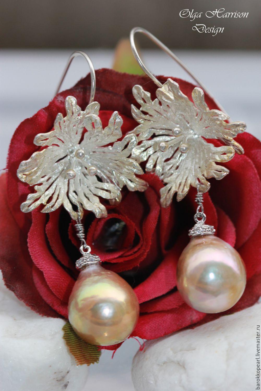 Серьги серебряные цветок фото