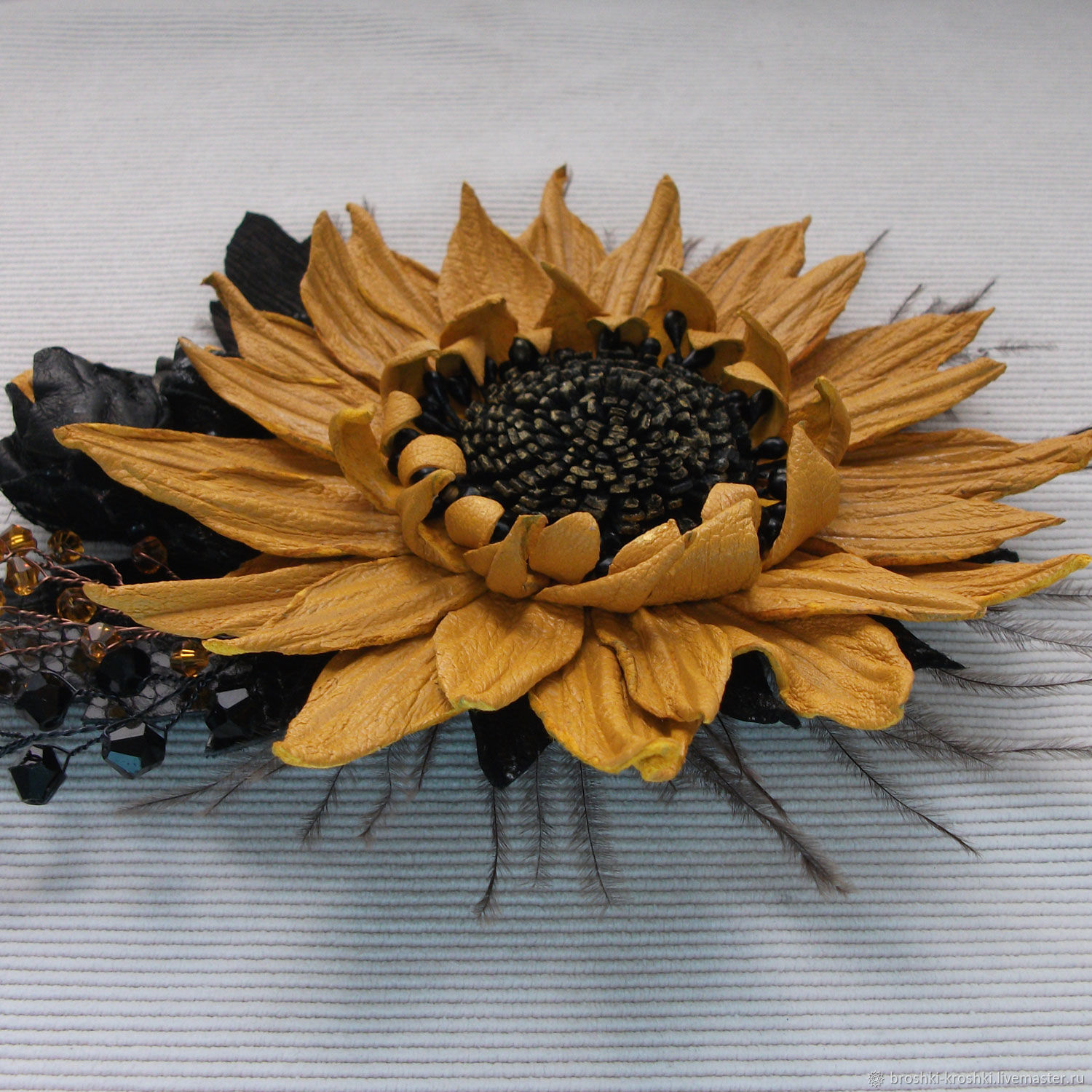 Brooch Made Of Genuine Leather Yellow Flower Shop Online On