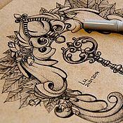 Картины ручной работы. Ярмарка Мастеров - ручная работа Эскиз для татуировки или принта. Handmade.