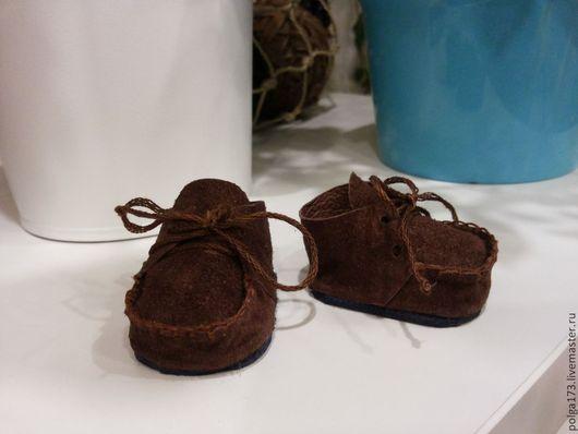 Одежда для кукол ручной работы. Ярмарка Мастеров - ручная работа. Купить Мокасины для Тедди и текстильных кукол.. Handmade. Коричневый