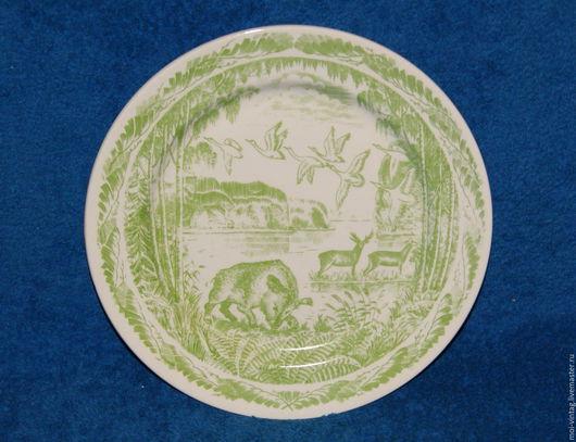 Винтажные предметы интерьера. Ярмарка Мастеров - ручная работа. Купить коллекционная тарелка кабан природа зик конаково. Handmade. зеленый