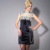 Одежда ручной работы. Ярмарка Мастеров - ручная работа Коктейльное  платье мини ,тёмно-синее.. Handmade.