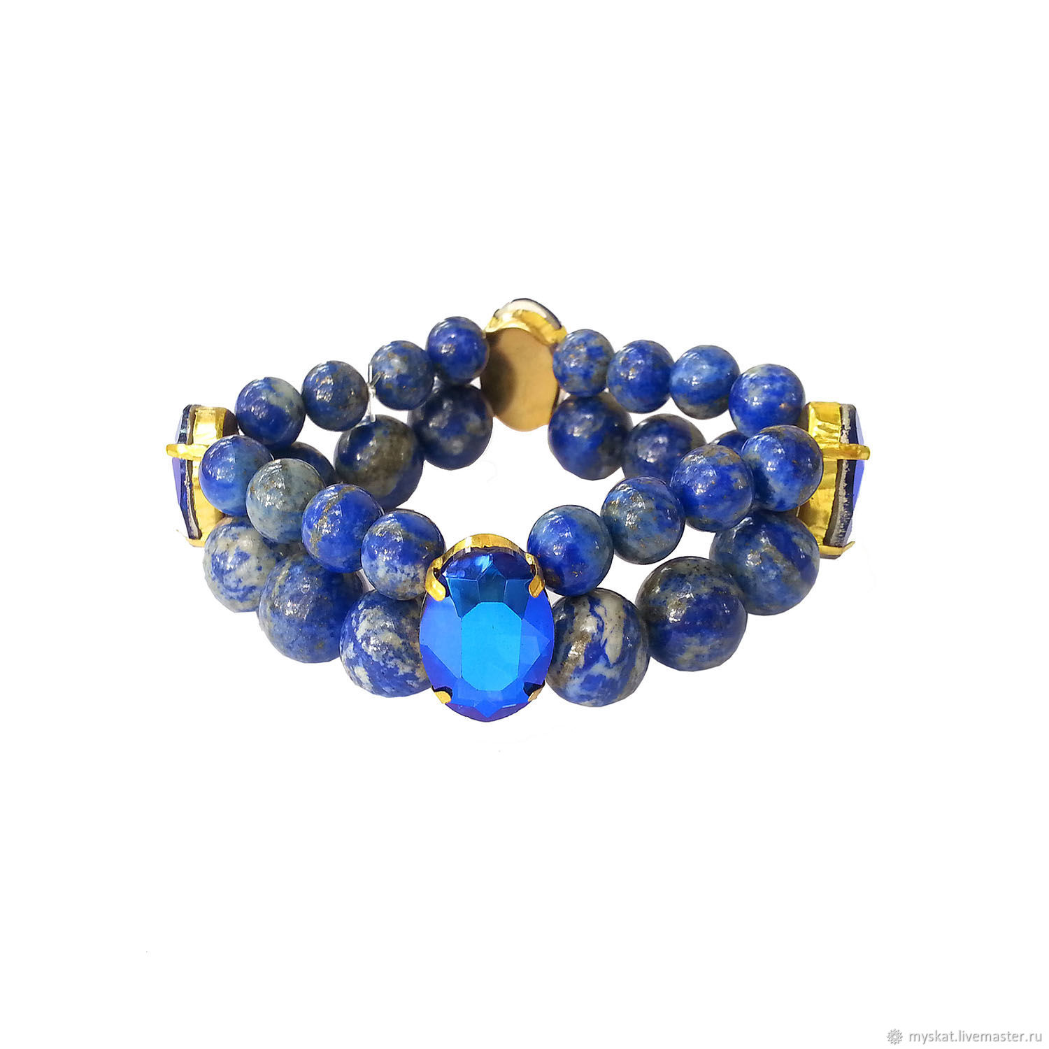 Bracelet made of lapis lazuli with crystals, Bead bracelet, Moscow,  Фото №1