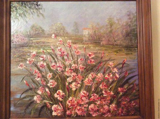 Пейзаж ручной работы. Ярмарка Мастеров - ручная работа. Купить Картина в подарок Заброшенный пруд. Handmade. Розовый, картина в подарок