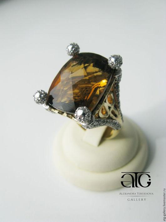 Сделаю на заказ Роскошное золотое кольцо с чистейшим цитрином 29.78 Carat!