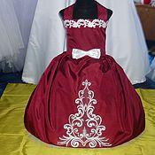 Работы для детей, ручной работы. Ярмарка Мастеров - ручная работа Бордовое платье с узором. Handmade.