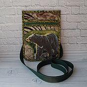 Поясная сумка ручной работы. Ярмарка Мастеров - ручная работа Джинсовая сумка на пояс, Сумка-карман, Медведь, Джинсовая сумка. Handmade.