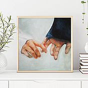 Картины и панно handmade. Livemaster - original item Touch, oil painting on canvas, hands, lovers, love. Handmade.