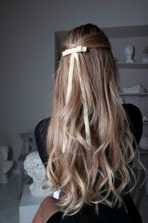 Бант-заколка для волос Мерси из бархата, молочный, Заколки, Москва,  Фото №1