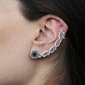 handmade. Livemaster - original item Cuff Flower Earring in 925 Sterling silver GA0030. Handmade.