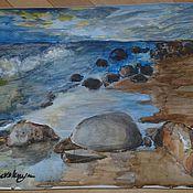 """Картины и панно ручной работы. Ярмарка Мастеров - ручная работа Пейзаж акварелью """"Финский залив"""". Handmade."""