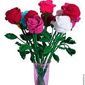 Цветы и флористика ручной работы. Ярмарка Мастеров - ручная работа Вязаная роза на длинном стебле в подарок , подарок на любой случай.. Handmade.
