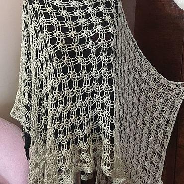 Одежда ручной работы. Ярмарка Мастеров - ручная работа Пончо из льна летнее. Handmade.