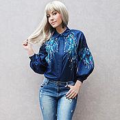 """Одежда handmade. Livemaster - original item Эксклюзивная блуза с ручной вышивкой """"Лунные травы-2"""" Новая коллекция. Handmade."""