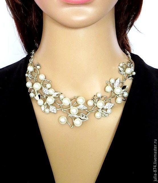 Колье с жемчугом (имитация), ожерелье, украшение на шею под серебро ... ea5213138c9