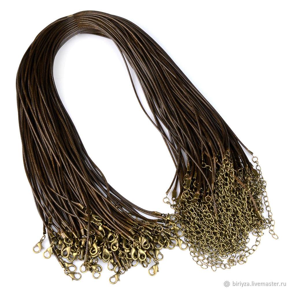 Шнур плетеный 50см, черный и коричневый, Чокер, Дубна,  Фото №1