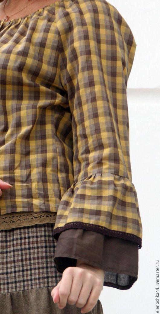 """Блузки ручной работы. Ярмарка Мастеров - ручная работа. Купить Блузка """"Рыжая осень"""". Handmade. Коричневый, блузка в клетку, кантри"""