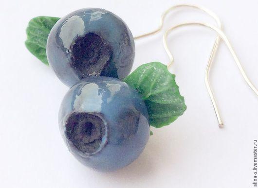 Серьги ручной работы. Ярмарка Мастеров - ручная работа. Купить серьги сережки черника ягода черника blueberry earrings polymer clay. Handmade.