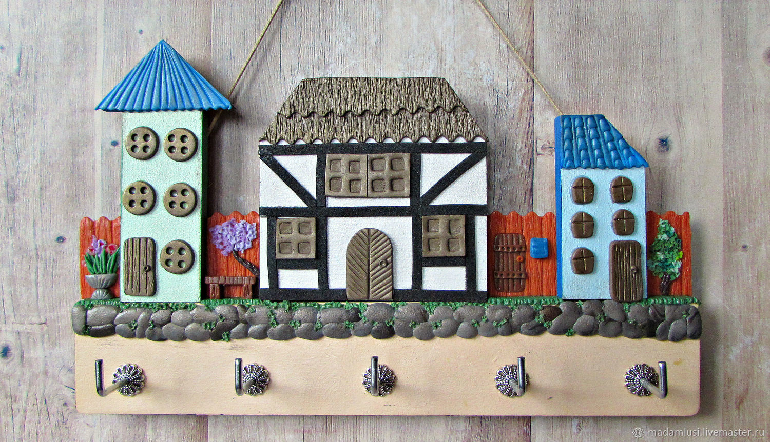 Entrance Hall handmade. Livemaster - handmade. Buy Housekeeper Spring in the city 5.The housekeeper wall. decor polymer clay.