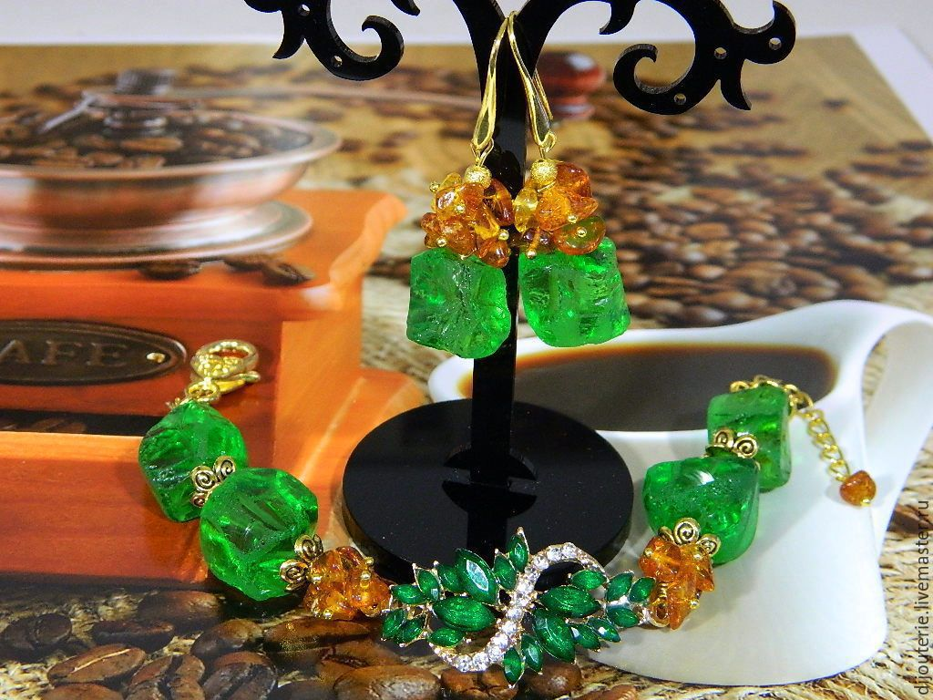 BRACELET EARRING 'INSPIRED-2'. QUARTZ , AMBER BALTIC, Bead bracelet, Saratov,  Фото №1