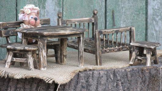 Кукольный дом ручной работы. Ярмарка Мастеров - ручная работа. Купить Мини- гарнитур в рустикальном стиле))). Handmade. Коричневый