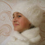 Аксессуары ручной работы. Ярмарка Мастеров - ручная работа Берет с шарфом кроличий. Handmade.