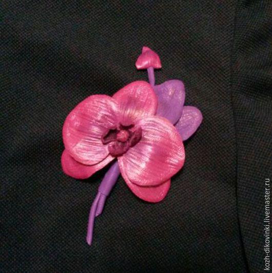 """Броши ручной работы. Ярмарка Мастеров - ручная работа. Купить Брошь """" Орхидея """" из натуральной кожи. Handmade. Сиреневый"""