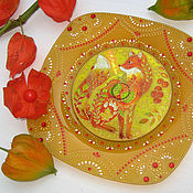 Декоративная тарелочка Рыжая осень Витражная роспись на диске