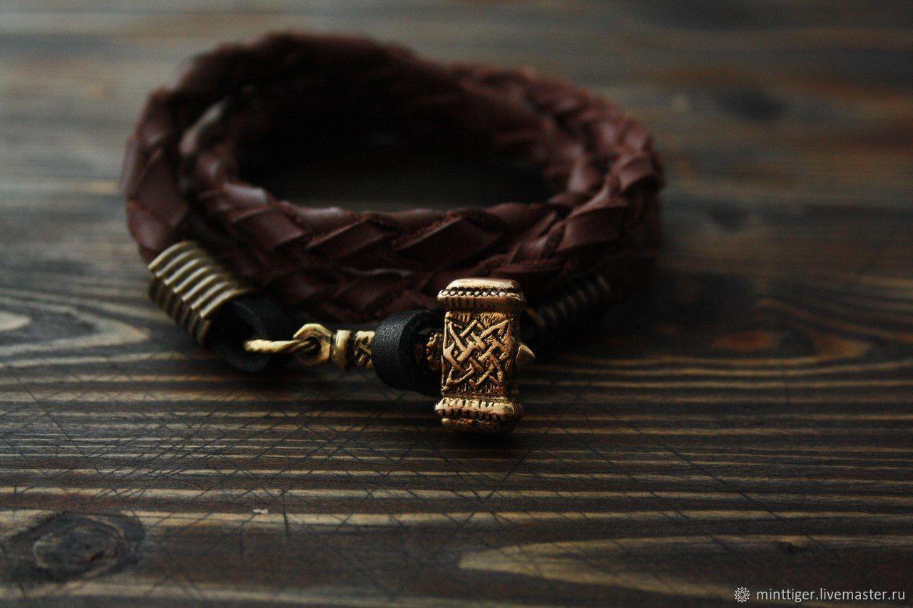 Bracelet braided: Bracelet leather Thor's Hammer, Braided bracelet, Volgograd,  Фото №1