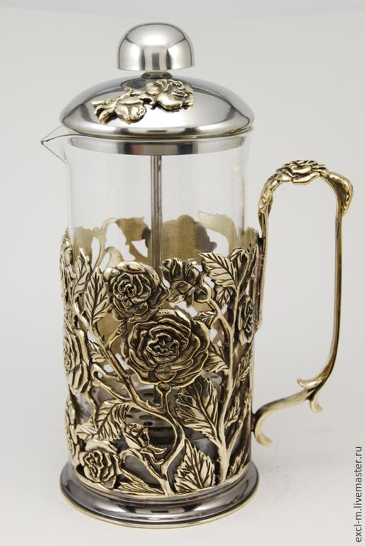 Чайники, кофейники ручной работы. Ярмарка Мастеров - ручная работа. Купить Френч-пресс Розы (малый 350 мл). Handmade.