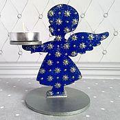Для дома и интерьера handmade. Livemaster - original item Candle holder wooden blue angel candle holder Christmas Interior. Handmade.
