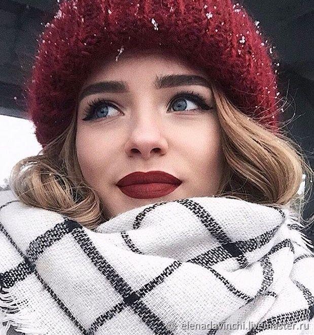 "Мохеровая женская шапка ""Марсала"", Шапки, Москва,  Фото №1"