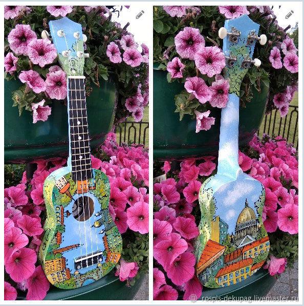 """Струнные инструменты ручной работы. Ярмарка Мастеров - ручная работа. Купить Укулеле """"Мой Питер""""  гавайская гитарка. Handmade. Цветы"""