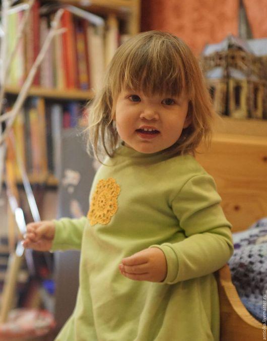 Одежда для девочек, ручной работы. Ярмарка Мастеров - ручная работа. Купить кофточка с вязаным мотивом. Handmade. Зеленый, туника, интерлок