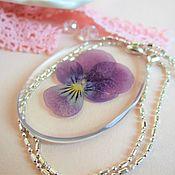 Украшения handmade. Livemaster - original item Transparent Oval Pendant with Purple Flower Pansies Botany. Handmade.