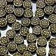 Бусины металлические Таблеточки литые формы диск диаметром 6 мм с этническим орнаментом и покрытием античная бронза для сборки украшений комплектами по 10 бусин