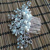 Свадебный салон handmade. Livemaster - original item Bridal comb. Pearls in antique silver.. Handmade.