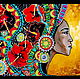 Этно ручной работы. МОНРОВИЯНКА-2 Картина на стекле. Юлия-Yulitaya. Ярмарка Мастеров. Подарок, негритянка, яркая картина