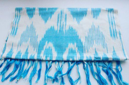 Шарфы и шарфики ручной работы. Ярмарка Мастеров - ручная работа. Купить Бохо-шарф из голубого иката. Handmade. Голубой, адрас