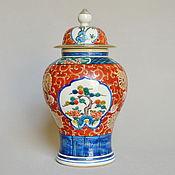 Большая ваза с крышкой Имари Япония