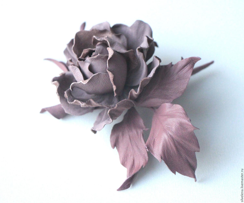 Роза из кожи Маргарет беж Брошь из кожи. Цветы из кожи, Брошь-булавка, Самара,  Фото №1
