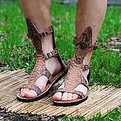 Обувь ручной работы handmade. Livemaster - original item NEW!  Sandals high from Python Without Membrane-Beige. Handmade.