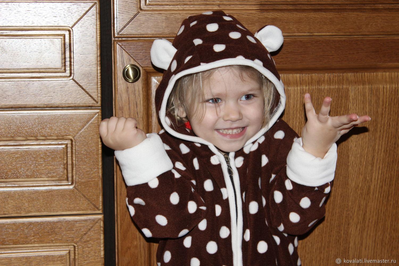 Флисовый комбинезон. Размеры от 0 до 10 лет. Медведь шоколадный гороше, Комбинезоны детские, Астрахань,  Фото №1