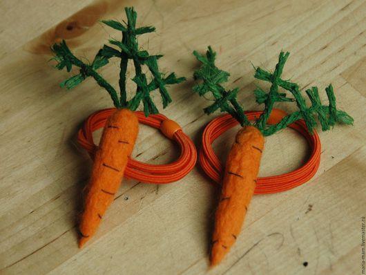 Детская бижутерия ручной работы. Ярмарка Мастеров - ручная работа. Купить валяные  заколки Морковки. Handmade. Рыжий, морковка