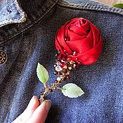 Украшения ручной работы. Ярмарка Мастеров - ручная работа Текстильная брошь в винтажном стиле. Красная роза.. Handmade.