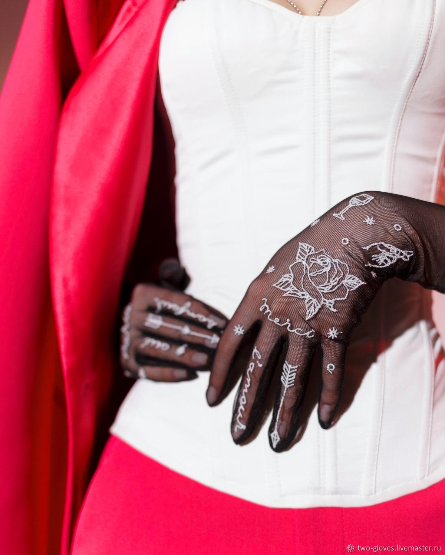 Тату перчатки с вышивкой Paris из итальянской сетки, Перчатки, Санкт-Петербург,  Фото №1