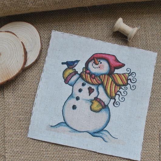 Купон льняной Снеговик и птичка, 3181