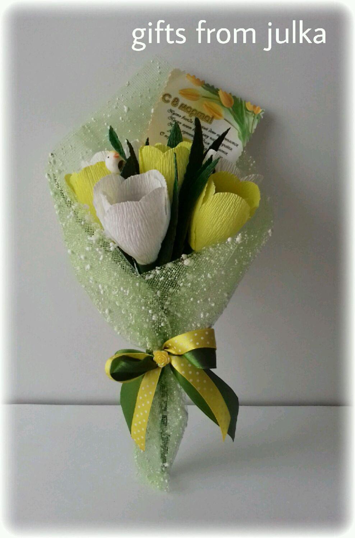 Букет тюльпанов из конфет фото как сделать