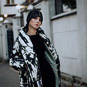 Одежда ручной работы. Ярмарка Мастеров - ручная работа Пуховик с поясом до -25градусов  черно-белый. Handmade.