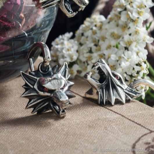 Earrings Wolf. Witcher Earrings. The Witcher silver, Earrings, Moscow,  Фото №1